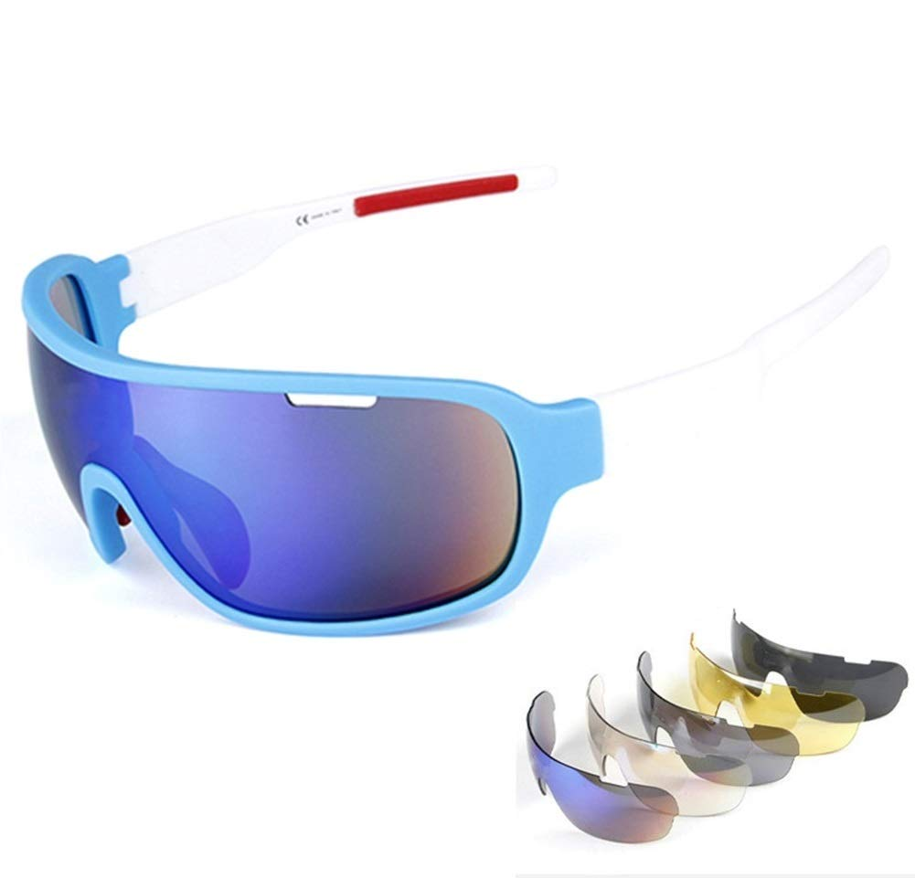 Rungear Polarized Sports Sunglasses UV400 with 5 Interchangeable Lenes for Men Women Cycling Running Driving Fishing Golf Baseball Glasses (Blue/White)