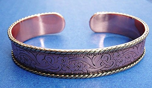 Western Jewelry Engraved Copper Gold Rope Cuff Bracelet 2 5/8