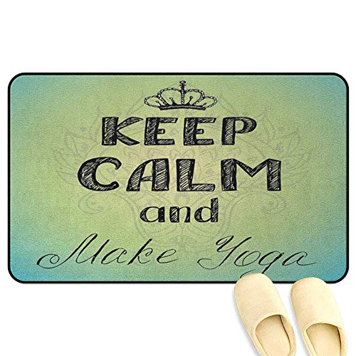 homecoco Keep Calm Office Chair Mat Sketchy Hand Writing Style Make Yoga Text with Artistic Lotus Flower Green Turquoise Black 3D Digital Printing Mat W39 x L63 INCH