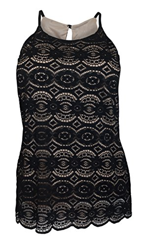 EVogues Plus Size Lace Overlay Sleeveless Top Black - 3X