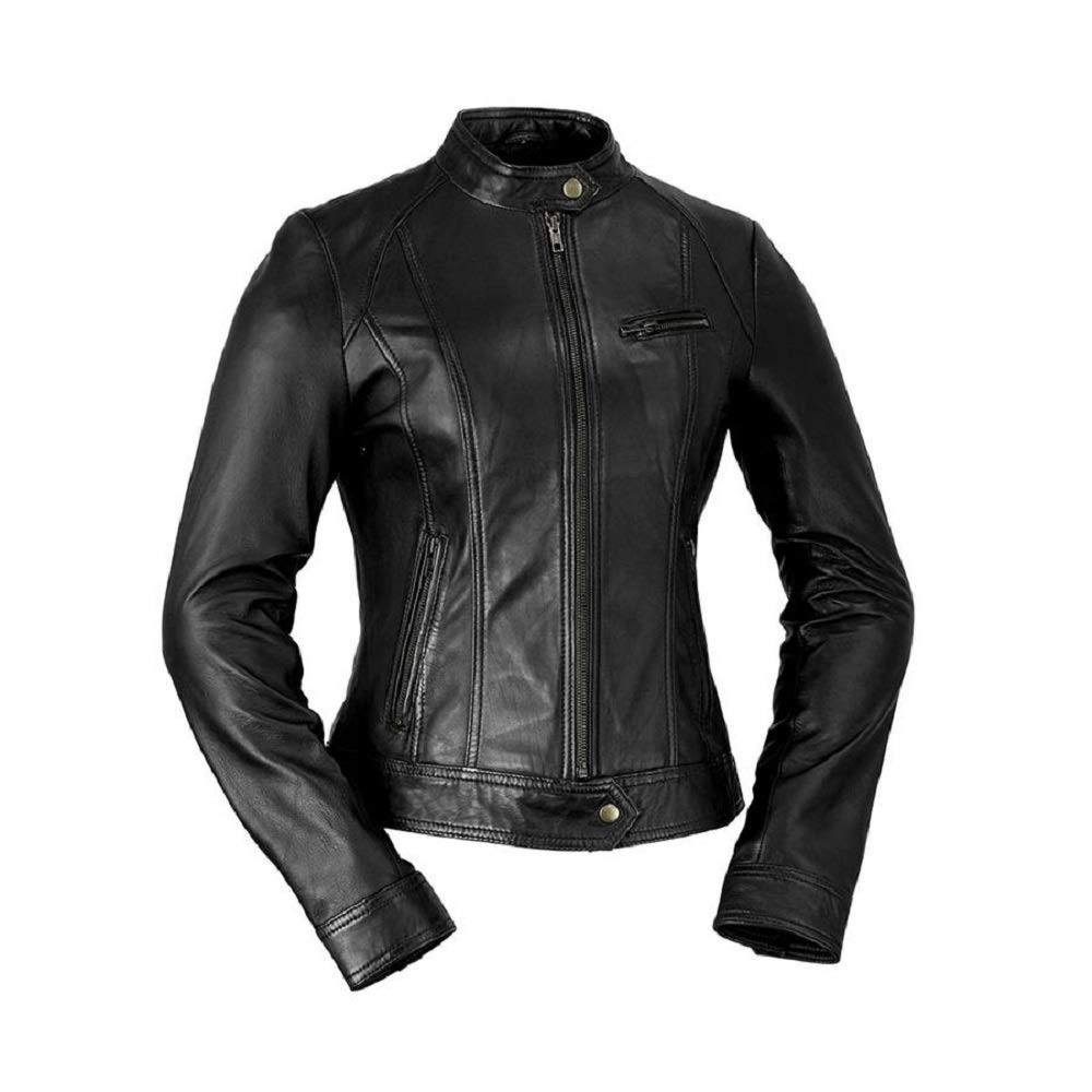 Whet blue Women's Classic Scooter Style Leather Jacket
