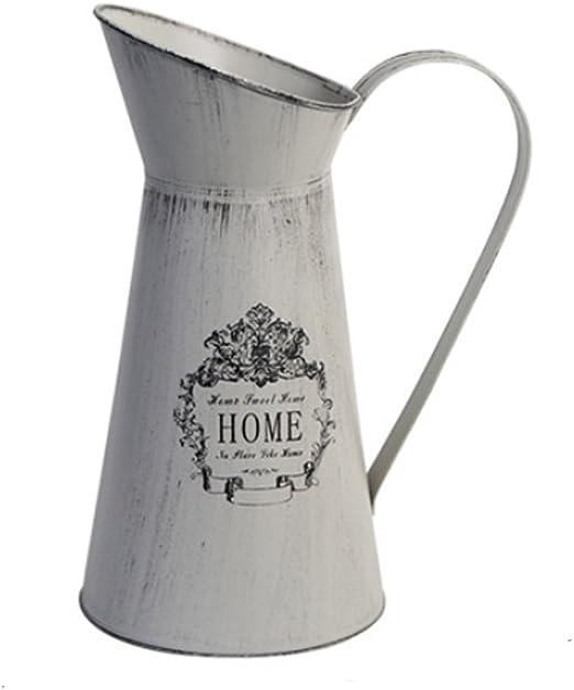 Unique Country Classic Enamelware Look Metal Milk Bottle Flower Vase