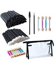 300 PCS Disposable Makeup Applicators, Deoot 100 PCS Eyelash Mascara Brushes,100 PCS Lip Brushes Lipstick Lip Gloss Wands,100 PCS Dual Sides Eye Shadow Sponge Eyeshadow Brushes,with Cosmetic Bags