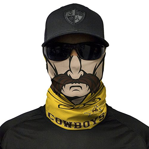 SA Company Gameday College Face Shield Mask for Tailgating. Show your school pride. Bandana, Balaclava, Doo-rag, Neck Warmer Gaiter for NCAA, Big 12, SEC, PAC 12, Big 12, Football, Basketball - Wyoming Cowboys (Cowboys College Basketball)