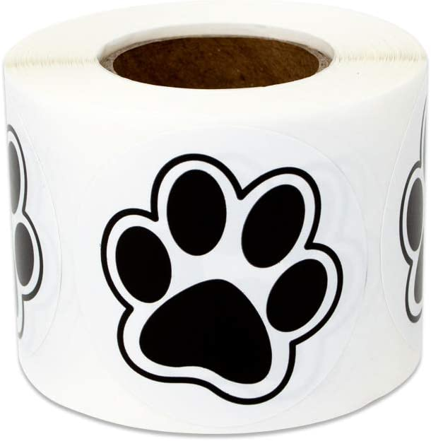 300 Labels - Dog Puppy Paw Print Stickers for Kids Crafts Animals Pets Vest Dogs Cats (1.5 Inch Black - 1 Roll)