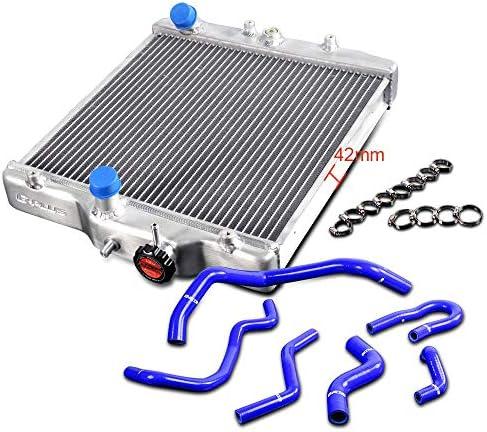 2列コアアルミニウムレーシング冷却ラジエーター交換用 ホンダシビックD15 D16 EG/EK 92-00+シリコンホース 93 94 95 96 97 98 99
