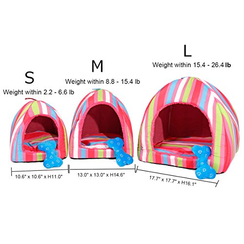 Colorful Stripes Plush Dome Dog Bed Soft Igloo Cat Tent Snooze Pad & Toy For Cats & Dogs Warm Pet House Blue Small (10.6'' x 10.6'' x H11.0'') by American Trends (Image #4)