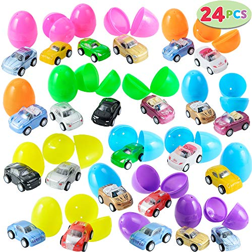 Premium 24 Pcs Filled Easter Eggs with Toy Cars, 2.25