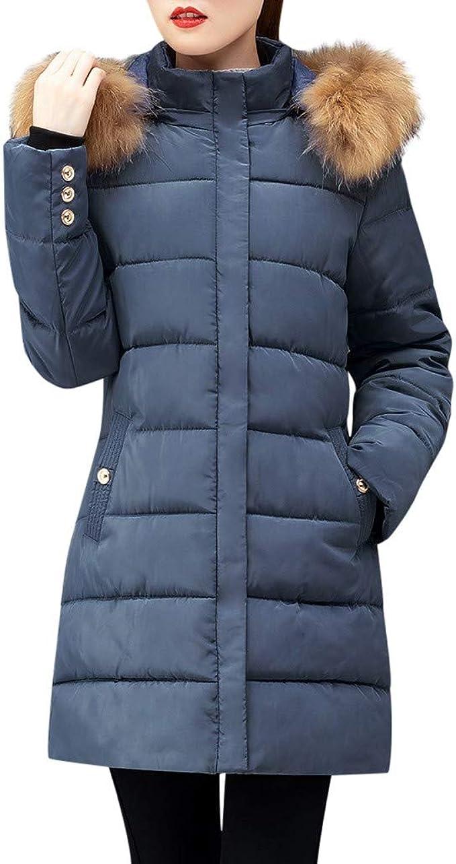 : Women Puffer Down Jacket with Faux Fur Hood SFE