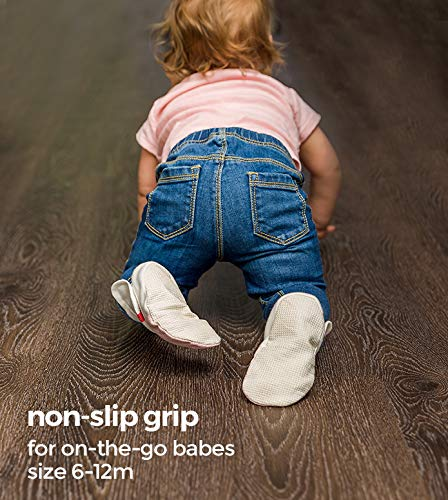 goumikids Baby Booties, Adjustable, Soft & Secure (Drops/Gray, 3-6 Months)