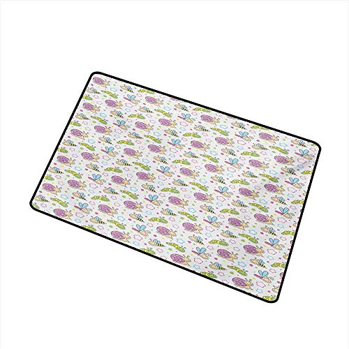 BeckyWCarr Baby Front Door mat Carpet Cute Insects Snail Caterpillar Dragonfly Bees Flowers Joyful Playroom Summer Print Machine Washable Door mat W29.5 x L39.4 Inch,Multicolor (Sassy Caterpillar)