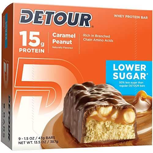 Detour Lower Sugar Whey Protein Bar, Caramel Peanut, 1.5 Ounce (Pack of ()