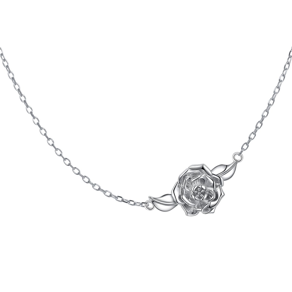 S925 Sterling Silver Jewelry Sideways Camellia Flower Choker Necklace 15+3''