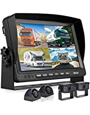 """Backup Camera System with 9"""" Monitor Built-in DVR Recorder for RV Semi Box Truck Trailer Motorhome,Quad Split Screen 4 Channel 1080P HD Waterproof Rear & Side View Rearview Camera Kit"""