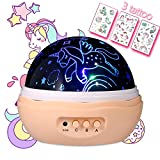 MINGKIDS NEWEST Night light Girls,Unicorn Projector for Girls,4 LED Bulbs 8 Modes Projector Lamp and Rotation,Running Unicorns Stars Projector for Baby,Girl Gifts