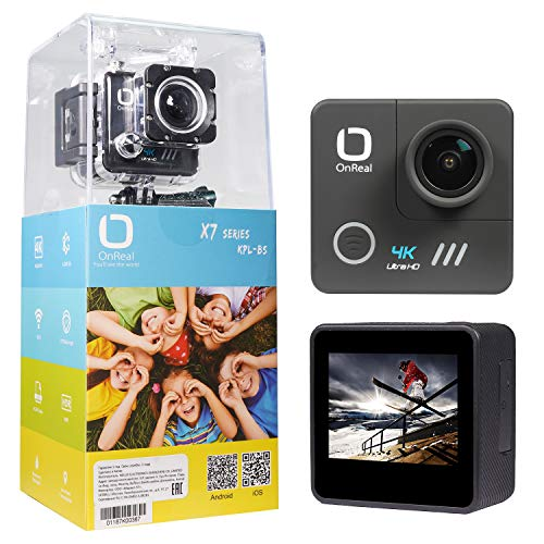 Matego Native 4K WiFi EIS Action Camera with 16MP Image Stabilization 170° Wide Angle Helmet Action Cam Waterproof Sport Camcorder 98ft Underwater Cameras for Diving Snorkeling,Accessories - Dimensions Extreme Kit 98
