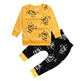 Baby Boys Girls Outfit Long Sleeve Graphic T-shirt and Animal Print Pants