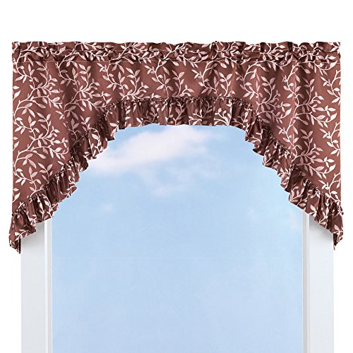 Collections Ruffled Leaf Swag Window Curtain Valance Topper, Burgundy (Elegant Ruffled Swag Curtain)