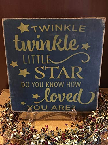 Iliogine Wood Plaque Twinkle Twinkle Little Star Do You Know How Loved You are Nursery Baby Nursery Decor Hand Stenciled 12X12 Hand Printed Tars Wood Sign