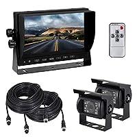 Esky 7-Inch TFT LCD Color Monitor Car Backup Rear View Camera System (Night Vision, Side Camera)