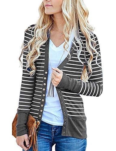 Cowear Women's S-3XL Solid Button Front Knitwears Long Sleeve Casual Cardigans Stripe Grey XL