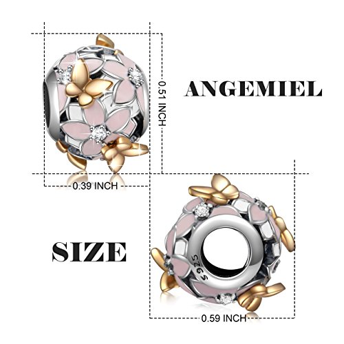 925 Sterling Silver Enamel Magnolia Bloom Charms with Gold Plated Butterfly for European Snake Chain Bracelets