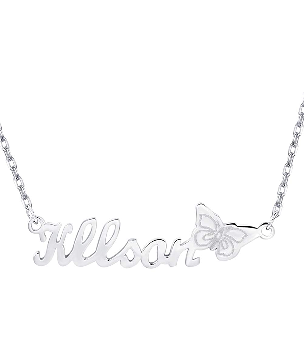 Custom4U Custom Name Necklace with Butterfly Personalized Nameplate Necklace Pendant for Women