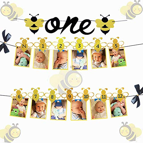 JeVenis Set of 2 Bumble Bee Monthly Photo Banner First Year Photo Banner First Birthday Photo Banner 12 Month Bee Photo Banner for First Birthday Decoration 1st birthday decoration