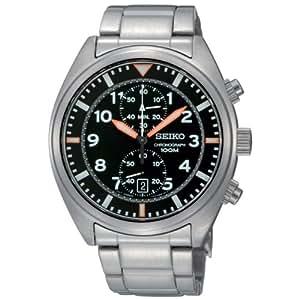 Seiko SNN235P1 - Reloj cronógrafo de caballero de cuarzo con correa de acero inoxidable gris