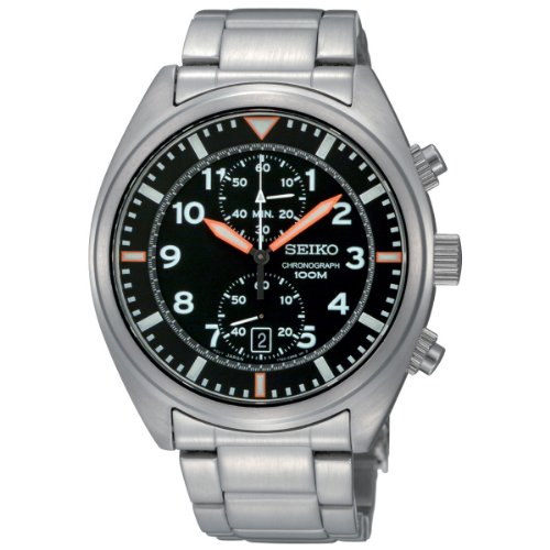 Seiko Men's SNN235 Chronograph Black Dial Stainless Steel Watch