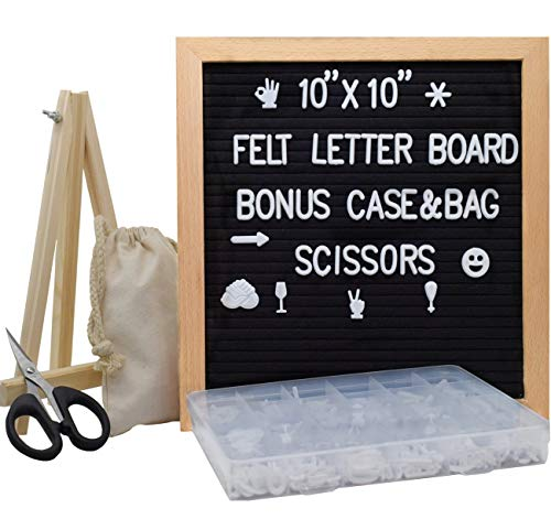 (Felt Letter Board-10x10 Inches Message Sign Board with Stand and Metal Hook, 340 Changeable Letters, Solid Beech Wood Material, Wall&Tabletop Display,for Classroom, Home, Office, Business (Black))