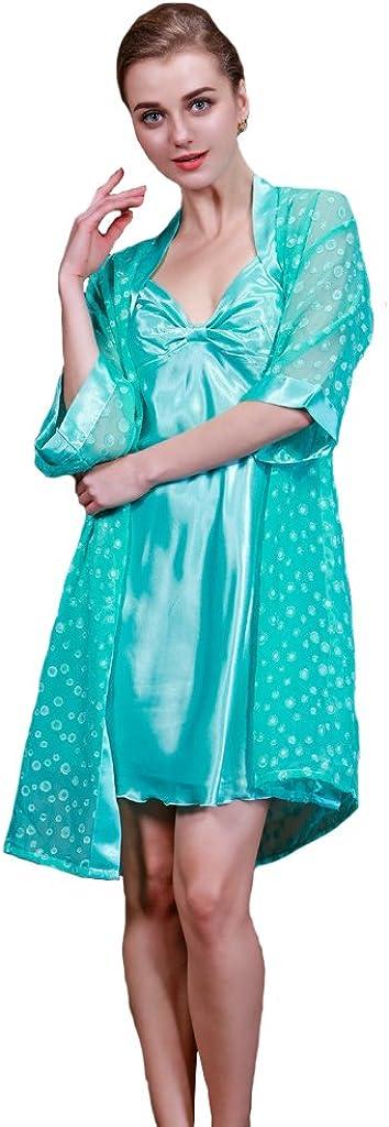 Tonwhar Womens Satin Silk Lingerie Nightgown with Sleeve