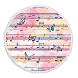 LIPOR Handcraft Round Beach Towel,Watercolor Note Sheet music Butterflies Dance,Thick Round Beach Towel Tapestry Blanket Yoga Mat With Tassels 60 inches