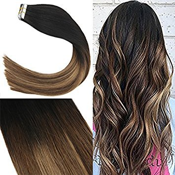 Youngsee 20inch 100% Real Human Hair Extensions Tape in Remy Hair Balayage Natural Black Fading to Brown with Caramel Blonde Seamless Tape in Straight Hair Extensions 20pc 50g/pack