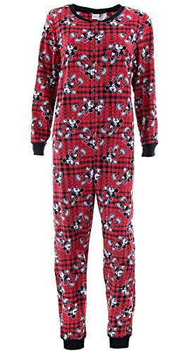 Disney Women's Mickey Mouse Red Plaid Union Suit Pajamas - Union Suit Plaid