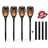 Otdair Solar Torch Lights Waterproof Flickering Flame Solar Torches Dancing Flames Landscape Decoration Lighting Dusk to Dawn Outdoor Security Path Light for Garden Patio Driveway (4 Packs)