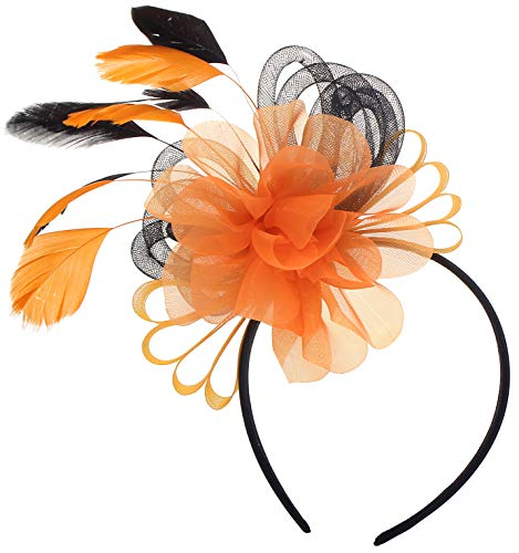 Fascinator for Women Flower Mesh Feathers on Headband Wedding Tea Party Hat (Orange and Black)