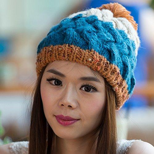 Que Hecho Grande Sombrero Punto para de los Coreana Bola otoño Versión Blue Invierno Colores Maozi Mezcla BLUE OPxgw1qq