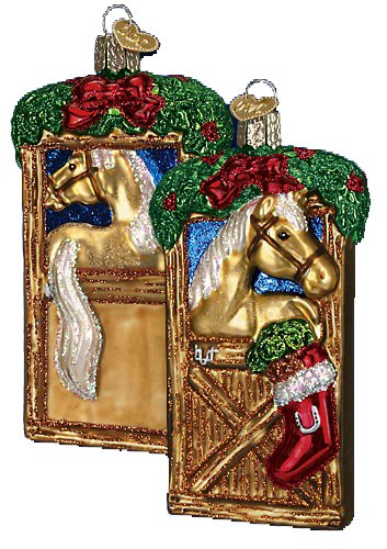 Old World Christmas Ornaments: Horse in Stall Glass Blown Ornaments for Christmas ()