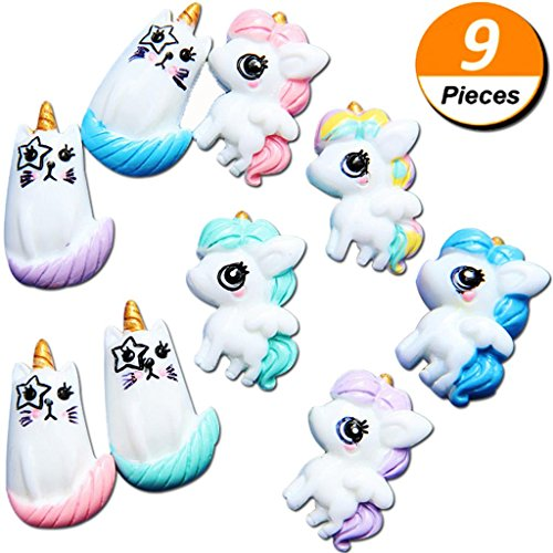 Mcree 9Pcs Unicorn Cat Slime Charms Resin Flatback, Ultra Slim Sweety Candy Color Girls Silicone Phone Decor, Diy Homemade Decor Craft Making Slime Beads For Ornament Scrapbook Diy Crafts -