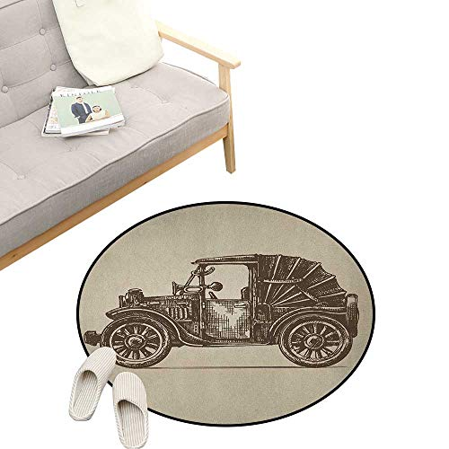 Cars Round Rug Living Room ,Classic Retro Car Design Early Prototypes of Automobile Semi Convertible Old School, Bedrooms Laundry Room Decor 31