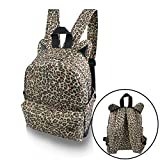 Leopard Animal Ears Design Cotton Canvas Multi-function Travel Hiking College Backpack Rucksack Daypack Shoulder Book Bag Schoolbag Laptop Satchel