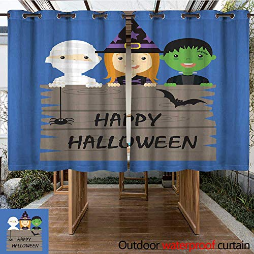 RenteriaDecor Outdoor Curtains for Patio Sheer Halloween Costume Party with Kids W55 x (Sari Halloween Costumes)
