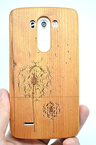LG G3 Wood Case - Cherry Wood Dandelion - Premium Quality Natural Wooden Case for your Smartphone and Tablet - by (Real Wood Cover For Lg G3)