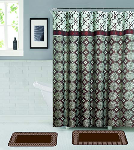 All American Collection 15-Piece Bathroom Set with 2 Memory Foam Bath Mats with Matching Shower Curtain (Brown)