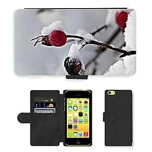 PU LEATHER case coque housse smartphone Flip bag Cover protection // M00108186 Rosa Mosqueta Invernal Frozen Wild Rose // Apple iPhone 5C