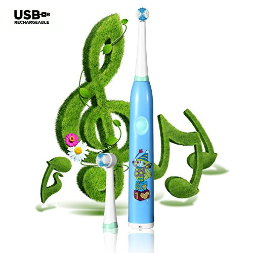 Kids Electric Toothbrush- Spin Toothbrush- Music- Timer- Rechargeable- 2 Bristle Brush Heads- Interchangeable Decals (Blue)