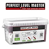"3mm (1/8"") T-Lock Complete KIT Anti lippage Tile leveling system by PERFECT LEVEL MASTER - 300 spacers & 100 wedges in handy bucket ! Tlock"