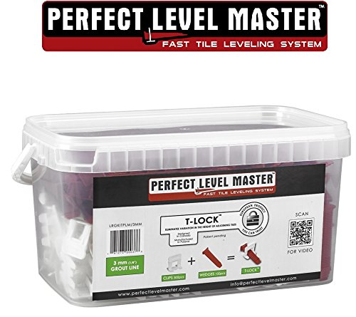 1/8'' T-Lock ™ Complete KIT Anti lippage Tile leveling system by PERFECT LEVEL MASTER ™ 300 spacers & 100 wedges in handy bucket ! Tlock by Perfect Level Master ™