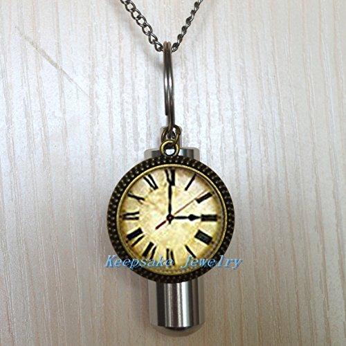 Clock Urn Necklace Jewelry -Clock Cremation Necklace Jewelry - Ashes Necklace Jewelry - Memorial Jewelry,Clock Cremation souvenir,Memorial Urn-nu251